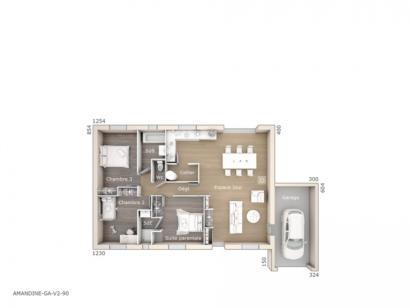 Plan de maison Amandine GA V2 90 Design 3 chambres  : Photo 1