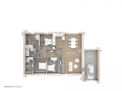 Plan de maison Amandine GA V2 120 Design 4 chambres  : Photo 1