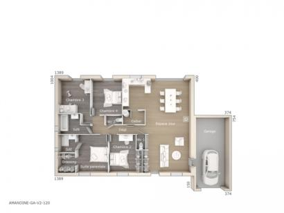 Plan de maison Amandine GA V2 120 Tradition 4 chambres  : Photo 1