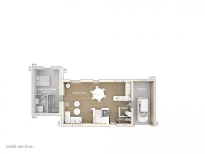 Plan de maison Elodie 100 Tradition 3 chambres  : Photo 1
