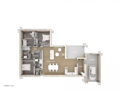 Plan de maison Laura 110 Design 3 chambres  : Photo 1