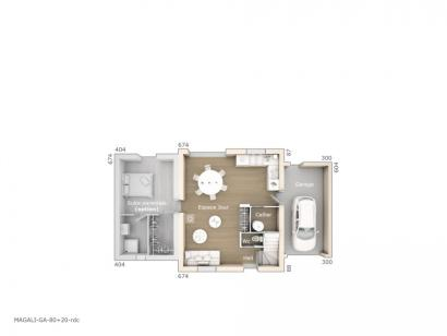 Plan de maison Magali 80 Design 3 chambres  : Photo 1