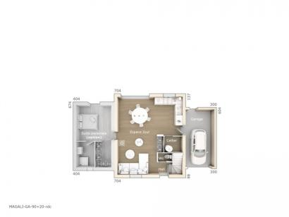 Plan de maison Magali 90 Design 3 chambres  : Photo 1