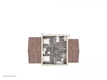 Plan de maison Magali 90 Design 3 chambres  : Photo 2