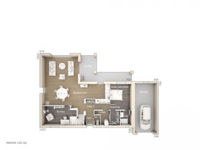 Plan de maison Manon 120 Tradition 3 chambres  : Photo 1