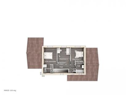 Plan de maison Marie 100 Design 3 chambres  : Photo 2