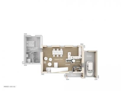 Plan de maison Marie 100 Tradition 3 chambres  : Photo 1