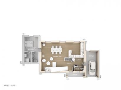 Plan de maison Marie 130 Design 3 chambres  : Photo 1