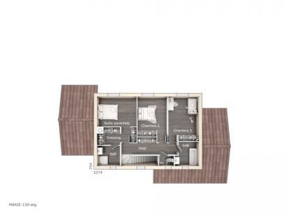 Plan de maison Marie 130 Tradition 3 chambres  : Photo 2
