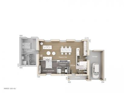 Plan de maison Marie 160 Design 4 chambres  : Photo 1