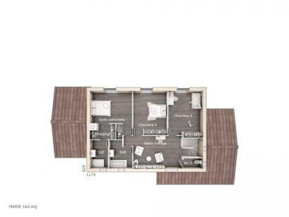 Plan de maison Marie 160 Design 4 chambres  : Photo 2