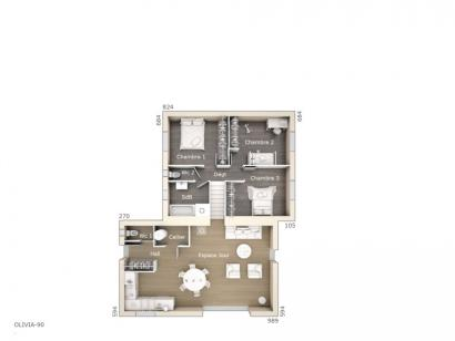 Plan de maison Olivia 90 Tradition 3 chambres  : Photo 1