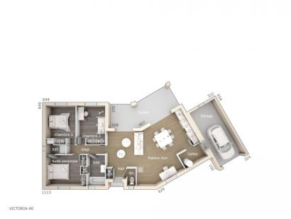 Plan de maison Victoria 90 Design 3 chambres  : Photo 1