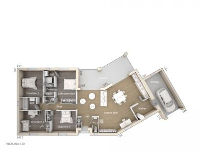 Plan de maison Victoria 130 Tradition 4 chambres  : Photo 1