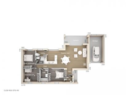 Plan de maison Cloé 95 Design Toit plat 3 chambres  : Photo 1