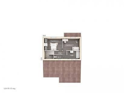 Plan de maison Léa V3 95 Tradition 3 chambres  : Photo 2