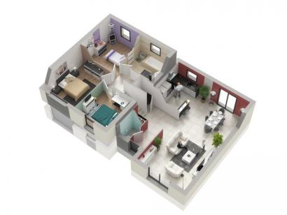 Plan de maison CRISTAL contemporain 3 chambres  : Photo 2
