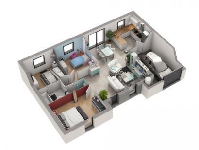Plan de maison IBIZA 3 chambres  : Photo 1
