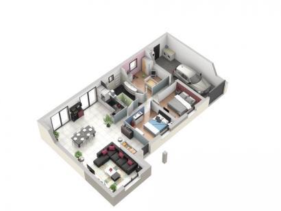 Plan de maison TURQUOISE VS contemporain 3 chambres  : Photo 1