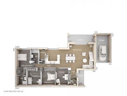 Plan de maison Cloé 150 Design Toit 3 pentes 4 chambres  : Photo 1
