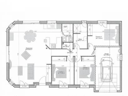 Plan de maison PLP_R_GI_92m2_3ch_P16048 3 chambres  : Photo 3