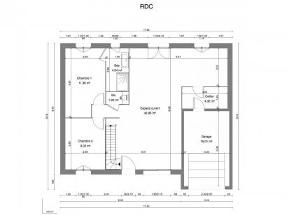 Plan de maison JASMIN C2G-116 5 chambres  : Photo 1