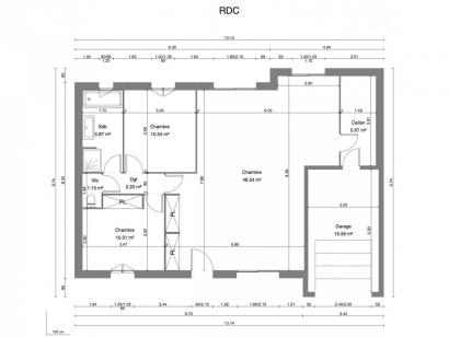 Plan de maison JASMIN C1G-82 2 chambres  : Photo 1