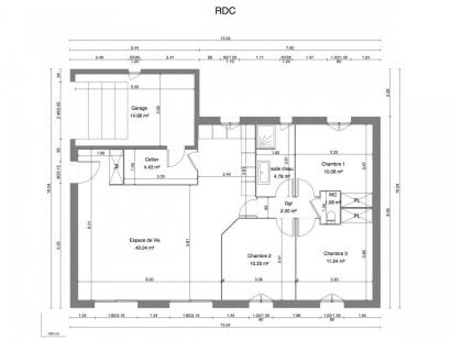Plan de maison MYOSOTIS C1G-84 3 chambres  : Photo 1