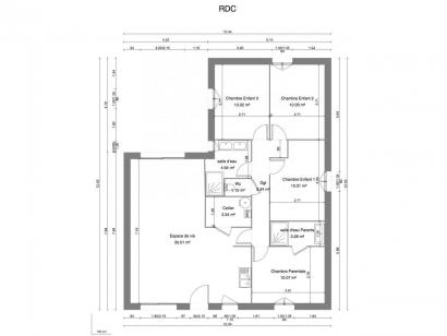 Plan de maison PRIMEVERE 4 chambres  : Photo 1