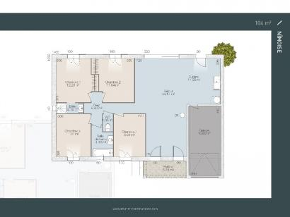 Plan de maison Nimoise 90 3 chambres  : Photo 2