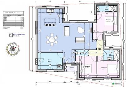 Modèle De Maison Maison 110m2   3CH   (PP AN 122911016) 3 Chambres :