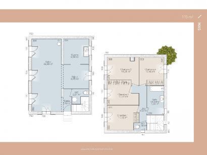 Plan de maison Mas 100 Contemporaine 3 chambres  : Photo 1