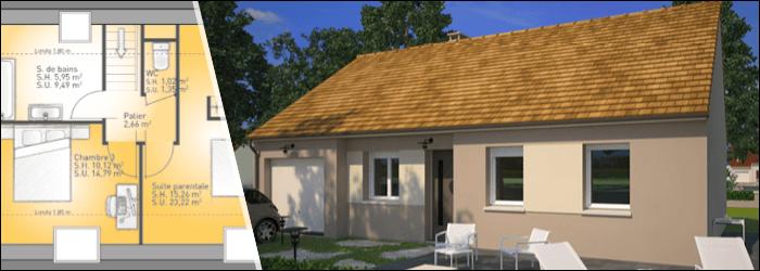 Plan de maison 4 chambres par Maisons France Confort
