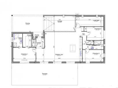 Plan de maison PLP_L_GI_150m2_3ch_P8242 3 chambres  : Photo 2