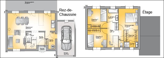 plan de maison à étage 100m2