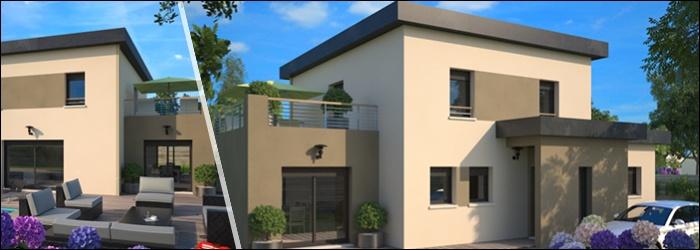 Concept 167 une maison au toit plat signé Maisons France Confort
