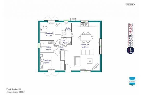 Modèle de maison MAISON DE PLAIN PIED- 66 A 76 M2 - CREUSE - ACACIA 2 chambres  : Photo 4