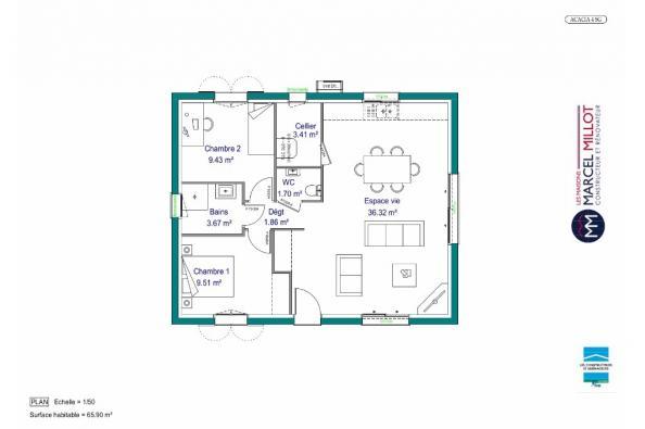 Modèle de maison MAISON DE PLAIN PIED - 66 A 76 M2 - CORRÈZE - LOT 2 chambres  : Photo 4