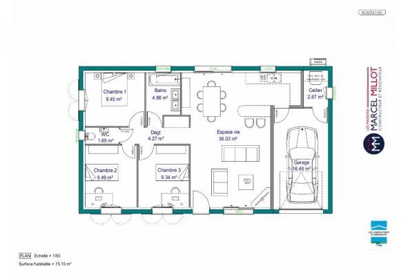 Modèle de maison MAISON DE PLAIN PIED - 75 M2 - CREUSE - ACACIA 5 3 chambres  : Photo 4