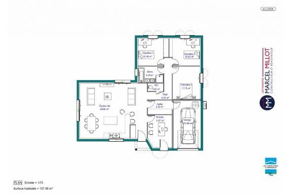 Modèle de maison MAISON PLAIN PIED -108 M 2 - HAUTE-VIENNE - ACCORD 3 chambres  : Photo 4