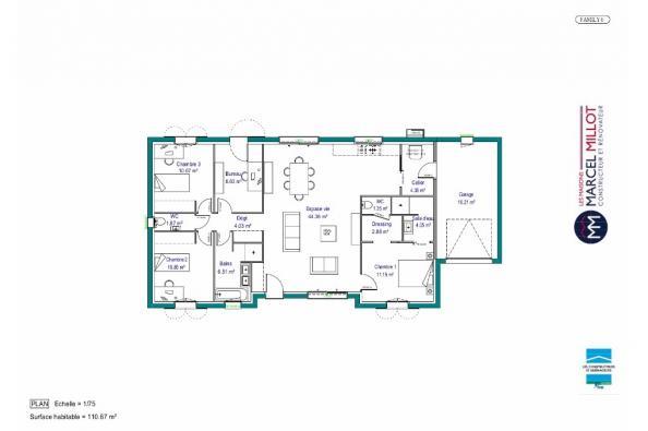 Plan de maison MAISON DE PLAIN PIED - 110 M2 - CREUSE - FAMILY 6 3 chambres  : Photo 1