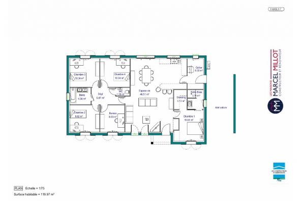 Plan de maison MAISON DE PLAIN PIED - 120 M2 - CREUSE - FAMILY 7 4 chambres  : Photo 1