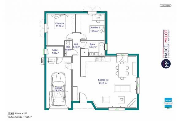 Plan de maison MAISON DE PLAIN PIED - 78 M 2 - CREUSE - LENA 4 2 chambres  : Photo 1