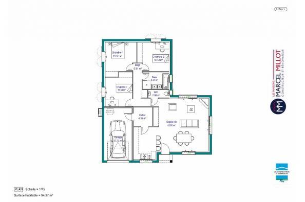 Plan de maison MAISON DE PLAIN PIED - 90 M2 - CREUSE - LENA 5 3 chambres  : Photo 1
