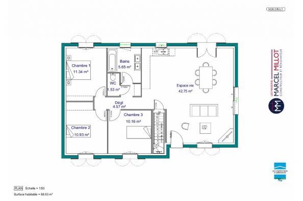 Plan de maison MAISON SUR SOUS-SOL - 87 M 2 - HAUTE-VIENNE - MERC 3 chambres  : Photo 1