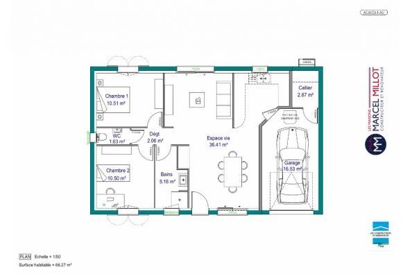 Plan de maison MAISON DE PLAIN PIED - 66 M 2 - CREUSE - ACACIA 4 2 chambres  : Photo 1