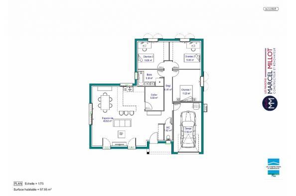 Plan de maison MAISON DE PLAIN PIED - 98 M 2 - CORRÈZE - NORD DU 3 chambres  : Photo 1