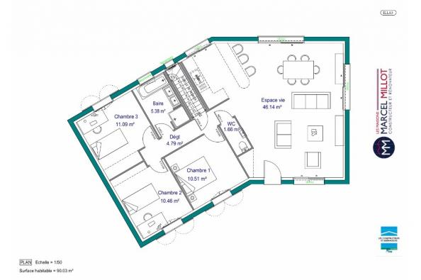 Plan de maison MAISON SUR SOUS-SOL - 91 M2 - CORREZE -LOT-DORDOGN 3 chambres  : Photo 1