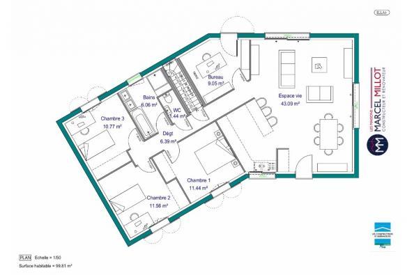 Plan de maison MAISON SUR SOUS-SOL - 100 M2 - CORRÈZE-LOT-DORDOGN 4 chambres  : Photo 1