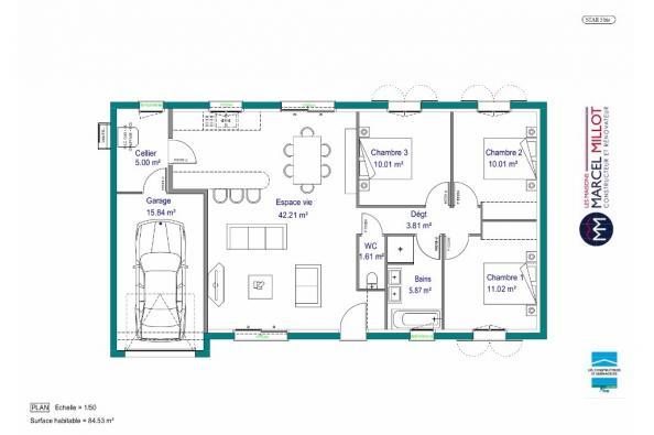 Plan de maison MAISON PLAIN PIED - 85 M 2 - CREUSE - STAR 5 BIS 3 chambres  : Photo 1